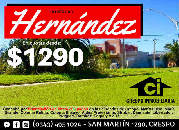 VENTA de Terrenos en Hernández